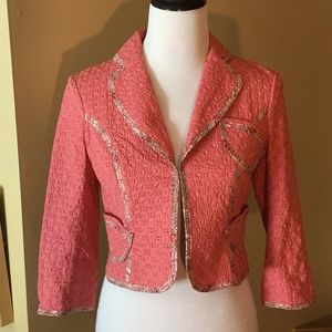 The Limited sz XS Embroidered Crop Blazer SALMON